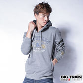 BIG TRAIN  老虎文字帽T-男-麻灰