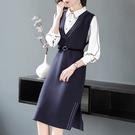 (現貨+預購 RN-girls)-時尚精品上班族針織背心裙兩件式套裝