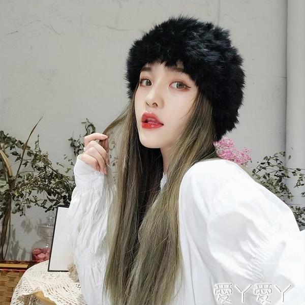 毛絨帽子 兔毛發帶韓版時尚仿皮草帽子女秋冬網紅百搭復古頭飾頭套毛絨發帶 愛丫