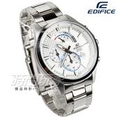 EDIFICE EFV-530D-7A 紳士格紋三針三眼男錶 不銹鋼 日期視窗 防水手錶 白 EFV-530D-7AVUDF CASIO卡西歐