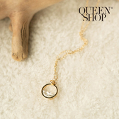Queen Shop【07040312】圓形半簍空水鑽設計項鍊*現+預*