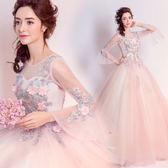 優雅浪漫仙美花朵蕾絲新娘結婚紗禮服