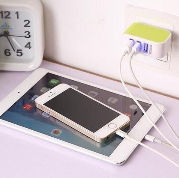 【SZ64】3孔USB充電頭 智能手機平板充電器通用多口旅行插頭