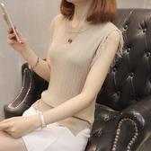 春夏新款韓版無袖流蘇冰絲背心圓領短款針織打底衫修身百搭上衣女