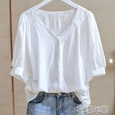 短袖襯衫 休閒白襯衫女短袖夏季薄款寬鬆顯瘦百搭正韓時尚設計感V領上衣女 2021新款