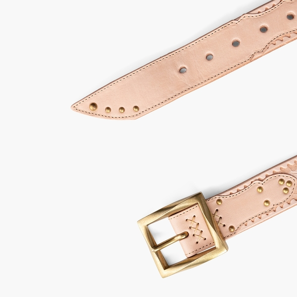 Levis 男女同款 MIJ日本製真皮皮帶 / 日本職人精工刻紋 / 鉚釘裝飾 / 不規則方形金屬釦