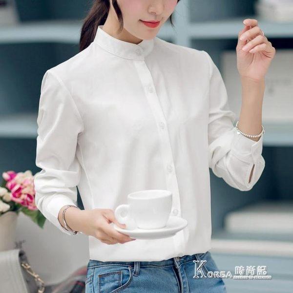 春季長袖時尚顯瘦女雪紡襯衫簡約立領襯衣上衣潮【korea時尚記】