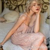 性感睡衣女夏冰絲宮廷風孕婦私房蕾絲春公主風吊帶睡裙火辣 晴天時尚館