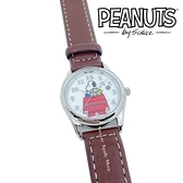 【SAS】日本限定 史努比 SNOOPY & 糊塗塌客 狗屋版 皮革腕錶 / 手錶 (咖啡色款)