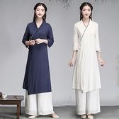 棉麻茶服 秋季中國風棉麻復古禪意修身改良漢服古風茶服交領七分袖連衣裙女 瑪麗蘇