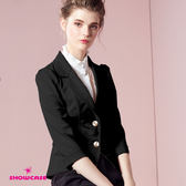 公主袖西裝外套【SHOWCASE】OL甜美公主袖修身西裝外套(黑)