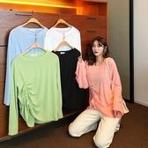 熱銷長袖T恤夏季韓版微透純色百搭設計感小眾抽繩顯瘦長袖t恤女裝2020新款潮