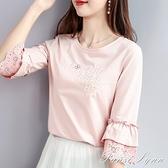 七分袖女上衣新款2021春夏長袖荷葉袖韓版寬鬆打底衫純棉中袖t恤 范思蓮恩