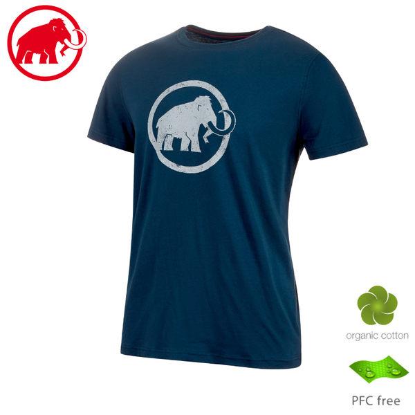 【MAMMUT 長毛象 男 Logo T-Shirt 短袖上衣《藏青》】1017-07292/t恤/休閒衫/運動上衣/有機棉