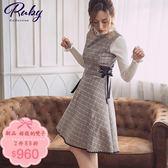 洋裝 格紋側綁帶無袖洋裝-Ruby s 露比午茶