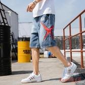 牛仔短褲 潮男夏季寬鬆大碼五分褲潮牌2020鬆緊腰多口袋工裝褲子男 OO13227【Rose中大尺碼】