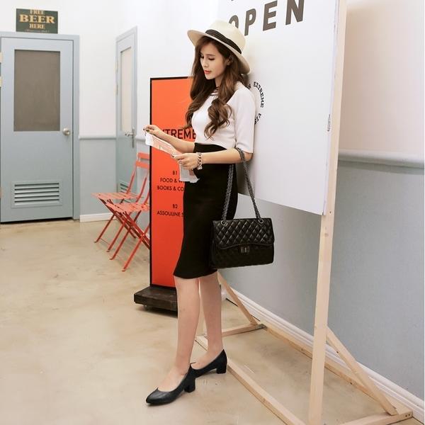 大尺碼女鞋41-47 凱莉密碼 職場有型正裝小尖頭低跟工作鞋3.5cm(41-47)【QZ7361】