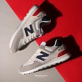 NEW BALANCE 休閒鞋 NB574 呆寶靜代言款 復古 灰藍紅 麂皮 男女 (布魯克林) ML574UJD