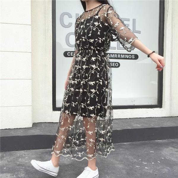 [超豐國際]日系軟妹夏季花朵刺繡蕾絲網紗連衣裙兩件套中長款打1入
