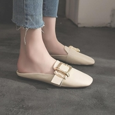 半拖鞋女方扣半拖鞋女夏懶人鞋時尚百搭韓版外穿社會小皮鞋女拖鞋交換禮物