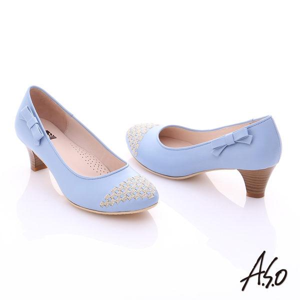 A.S.O 舒適通勤 真皮金蔥編織側結飾中跟鞋  淺藍