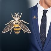 高檔商務西服胸針男襯衣西裝飾品領針配飾男士領花胸章蜜蜂裝飾「草莓妞妞」