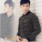 【大盤大】(P20155)男 條紋 台灣製POLO衫 長袖保羅衫 休閒口袋上衣 黃黑 顯瘦 中年【剩M和L號】