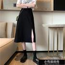 半身裙 黑色半身裙女夏季開叉長裙新款a字裙高腰顯瘦中長款裙  【全館免運】