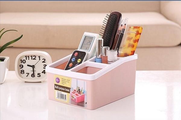 SK158遙控器收納盒 格子家居遙控器化妝品收納盒 辦公多功能文具塑料桌面收納整理盒