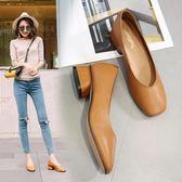 2019新品奶奶鞋女粗跟 方頭軟皮瓢鞋復古中跟v口杏色方跟低跟單鞋