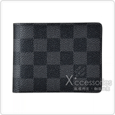 LV N64002 SLENDER棋盤格LOGO Damier Graphite帆布4卡對折短夾(黑)