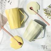 馬克杯杯子陶瓷带盖勺办公室女学生韩版情侣咖啡水杯简约 XW3669【極致男人】