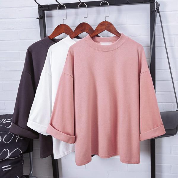 VK精品服飾 韓國風大碼寬鬆休閒素色長袖上衣
