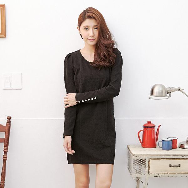 洋裝 Ringbear眼圈熊-時尚名媛風.公主袖造型金釦曲線設計包臀洋裝A160(黑、粉S-2L)