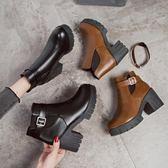 chic馬丁靴女英倫風裸靴子女短靴高跟女靴春秋單靴短筒切爾西靴女   西城故事