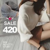 SISI【L6006】名媛時尚高領寬鬆蝙蝠袖燈籠袖純色針織毛衣長袖套頭上衣