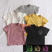 小孩短袖上衣笑臉短袖T恤寶寶女童兒童夏裝洋氣薄款衣服6-12個月1-2-3歲 樂淘淘