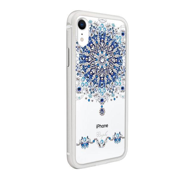 apbs iPhone XR 6.1吋施華彩鑽鋁合金屬框手機殼-銀色冰雪情緣