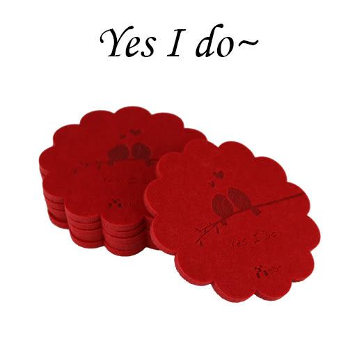 Xebe集比 yes I do 杯墊1組6入 (紅色) 送客禮婚禮小物創意小物羊毛氈杯墊