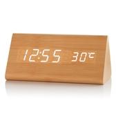 LED夜光木頭鐘學生創意簡約個性靜音時鐘復古床頭電子數字鬧鐘錶 琉璃美衣