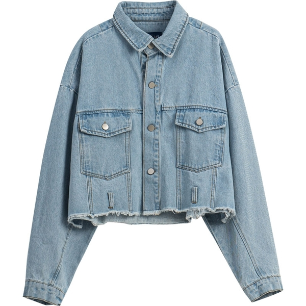 Queen Shop【02050256】雙口袋鬚邊設計牛仔外套*現+預*