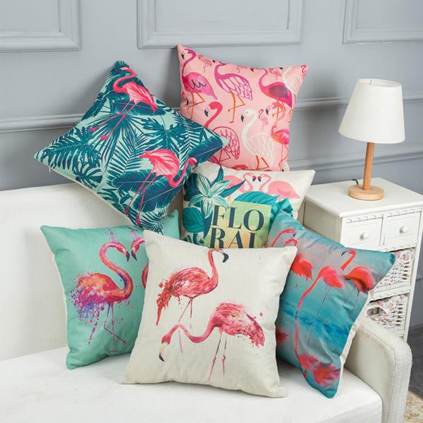 【BlueCat】紅鶴火烈鳥系列棉麻抱枕腰枕套 枕頭套