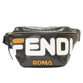 FENDI 黑色FF字母防水塗層帆布腰包 Fila Logo Print Belt Bag 7VA434【BRAND OFF】