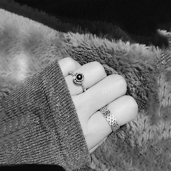 Qmishop 韓版復古編織鏈條寬面戒指【QG1921】