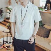 亞麻襯衫男短袖中式棉麻上衣夏季改良中國風男裝茶禪服 QQ1138『愛尚生活館』