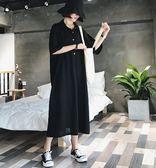 促銷價不退換長版寬鬆T裙L-4XL中大尺碼32400夏裝大碼女裝遮肚連衣裙減齡顯瘦很仙法式複古裙子