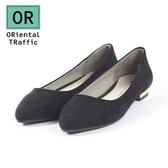 【ORiental TRaffic】舒適百搭尖楦平底鞋-百搭黑