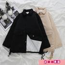 工裝外套 工裝棉服女韓版寬鬆bf風冬季2021新款學生加厚港風中長款黑色外套 源治良品