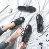 英倫鞋 黑色小皮鞋女英倫2018新款春秋季平底學院風百搭工作鞋系帶皮鞋女