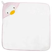 【佳兒園婦幼館】Puku 藍色企鵝 造型連帽紗布浴巾-粉色